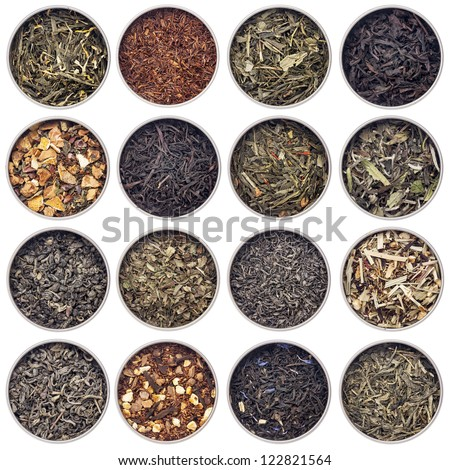 16 samples of loose leaf green, white, black, red, and herbal tea in metal cans isolated on white