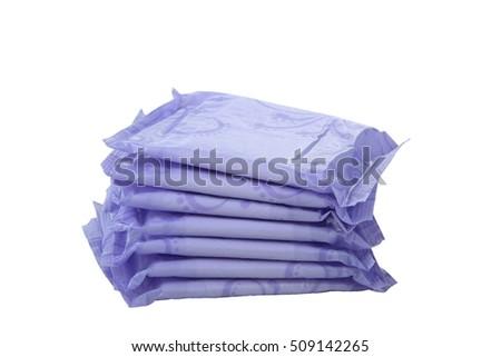 Sanitary napkins, pad (sanitary towel, sanitary pad, menstrual pad) isolated on white background. Menstruation. #509142265
