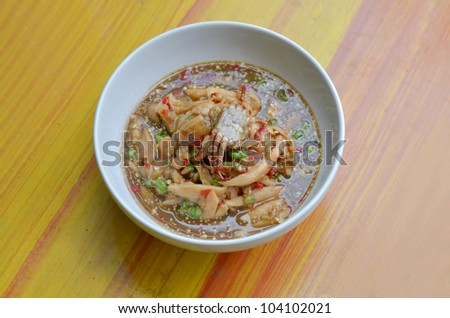 santol salad with steamed crab , Thai spicy food