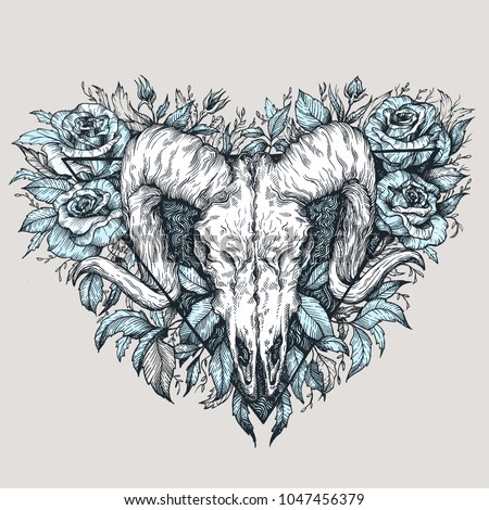 Satanic Goat Head Binary Satanic Symbol Tattoo Design Retro