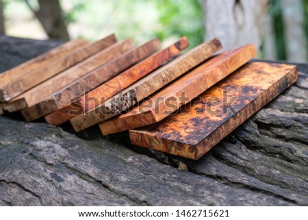 Sawed timber burl wood striped prepare for the crafts