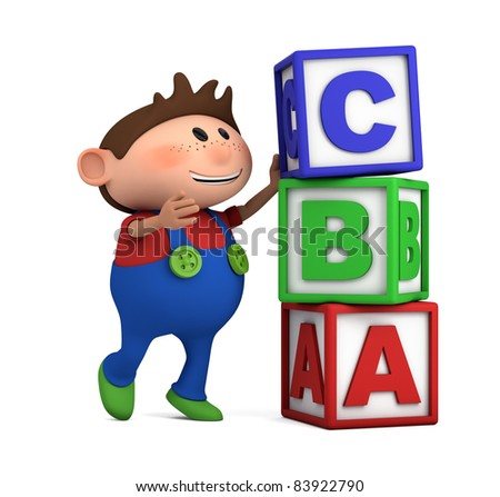 school boy stacking ABC blocks on top of each other - high quality 3d illustration
