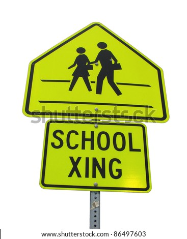school crossing sign isolated on white background