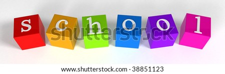 """""""school"""" phrase compiled with a cubes - 3d rendering"""