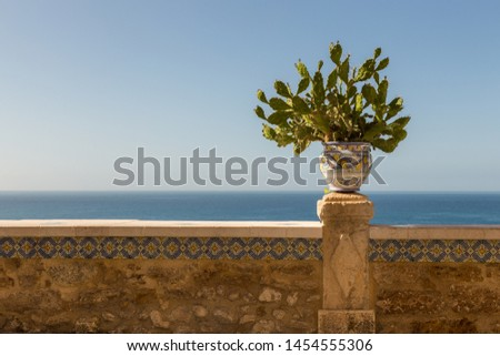 Sciacca ceramics with prickly pear cactus, Sicily, Italy