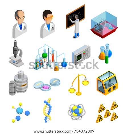 Science isometric icons set with experiment symbols on blue background isolated  illustration