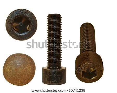 Screw heads, bolts isolated on white background - stock photo