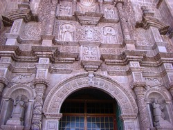 Sculpted mermaid (18th century, andean baroque) on cathedral of Puno (Lake Titicaca, Peru)