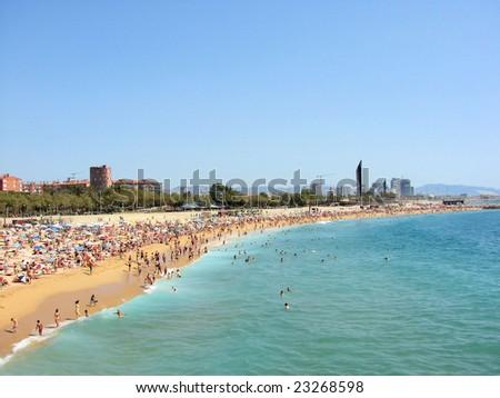 sea  beach barcelona spain