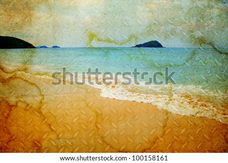 Sea from old paper - stock photo