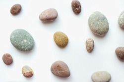 sea pebbles, sea pebbles on a white background