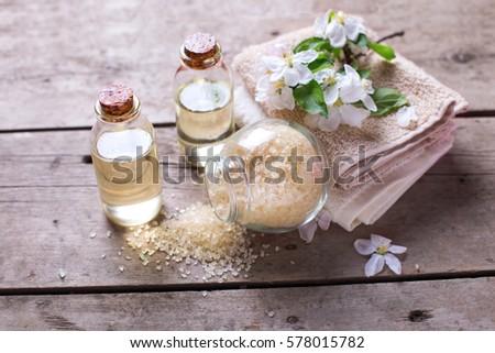 sea salt  towels  aroma oil in ...