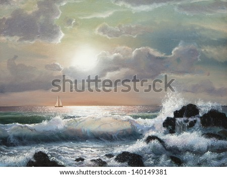 sea sunset, Oil painting