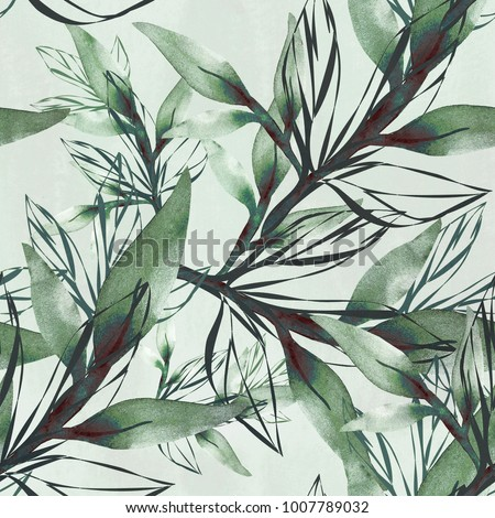 .Seamless pattern branch in watercolor and count on a colored background.
