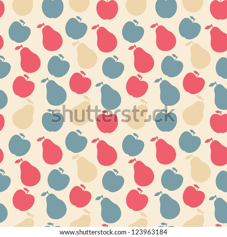 seamless pattern of fruit - apple and pear . Raster version