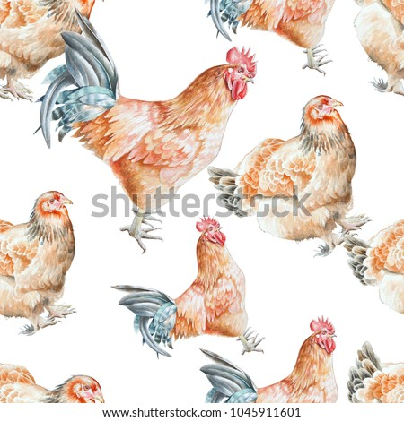 Seamless pattern with   cock and  hen.  Watercolor illustration. Hand drawn.