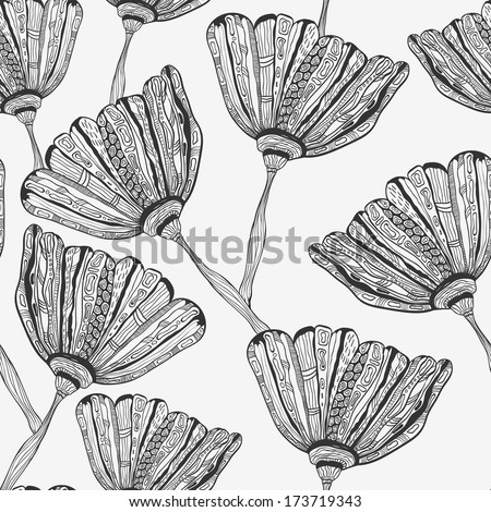 Stock Photo  Seamless Pattern with doodle hand drawn bizarre flowers