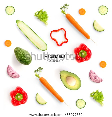 Seamless pattern with red pepper, avocado, onion, cucumber, carrot, lettuce. Vegetables abstract background. Red pepper, avocado, onion, cucumber, carrot, lettuce on the white background.