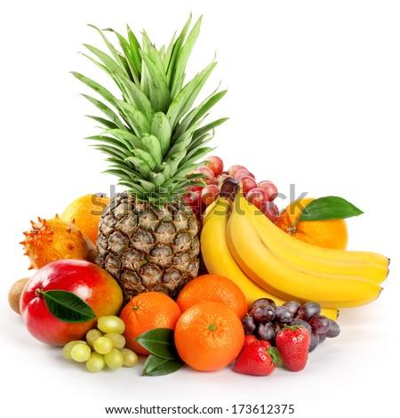 Shutterstock  Seasonal organic raw fruit. Isolated over white background