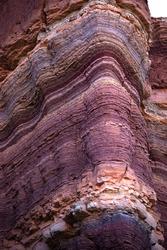 sedimentary layers of minerals, La Yesera, Salta Argentina.