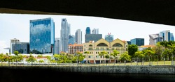 (Selective focus) Stunning view of the Singapore skyline seen from Clarke Quay. Clarke Quay is a historical riverside quay in Singapore, located within the Singapore River Planning Area.