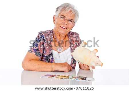 senior woman is happy about a lot of money