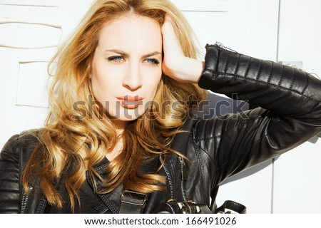 Sensual Blonde woman beauty . Woman with shine hair.  outdoors shot.