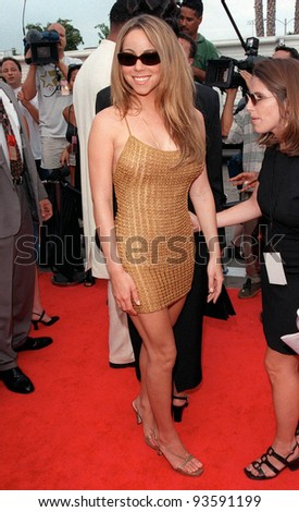 03SEP98: Singer MARIAH CAREY at the Soul Train Lady of Soul Awards in Santa Monica, California. - stock photo