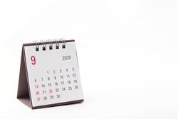 2020 September calendar on white background