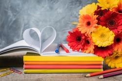 1 September concept postcard, teacher's day, back to school, supplies, alarm clock, toned vintage