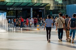 3 september 2017, crowd of people walking in square at Siam Center/Siam Paragon Bangkok Thailand