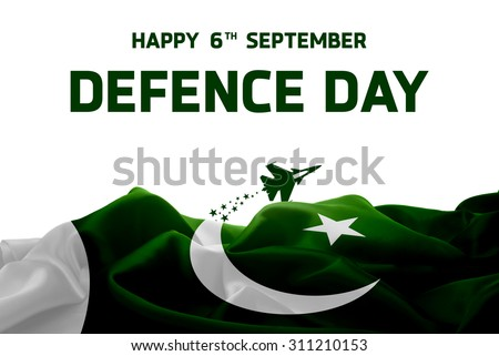 6 September. Pakistan Defence Day. Airplane Flying behind the Flag. Abstract waving Flag #311210153
