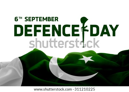 6 September. Pakistan Defence Day Creative Typography with gun. Abstract waving Flag #311210225