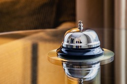 service bell in a hotel, restaurant or other promises. Hotel Concierge Service