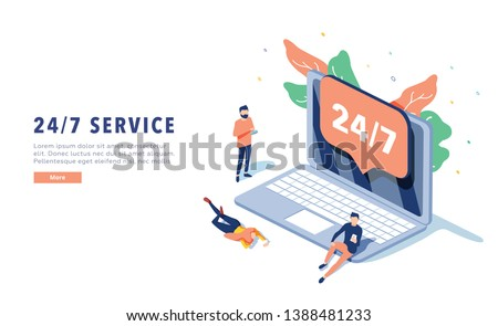 24\7 service concept or call center in isometric illustration. 24-7 round the clock or nonstop customer support background. Self-service layout template for web banner. Customer care app.
