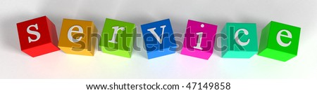 """service"" phrase compiled with a cubes - 3d rendering"