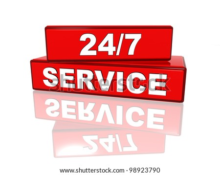 24/7 service - white text on red boxes - stock photo