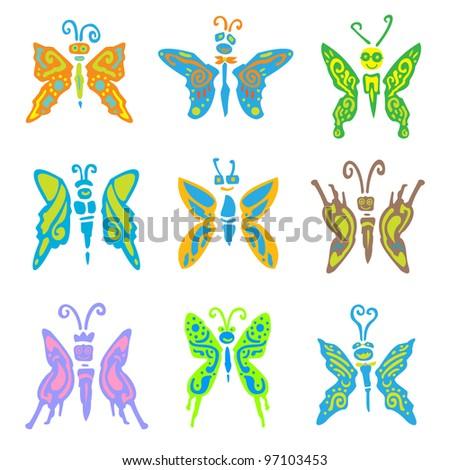 9 set butterfly - stock photo