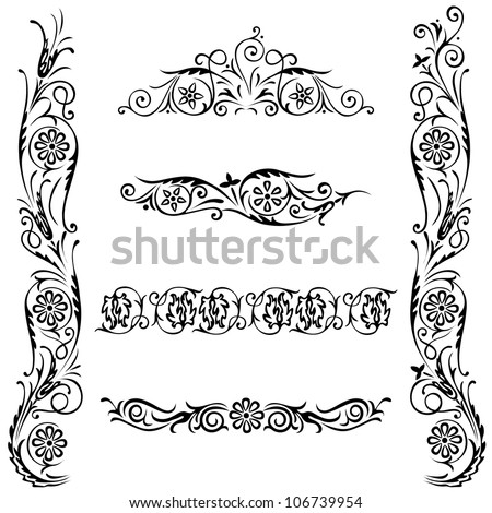Ornamental Design Flower Set Calligraphic Design Flower