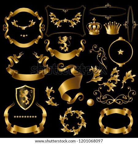 set decorative golden elements, heraldic ornament, ribbons, crowns, stars, curls, branches isolated on black Vintage clipart for creation royal stickers, premium quality labels, emblems, badges