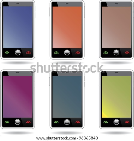 Set of abstract  touchscreen smart phones.