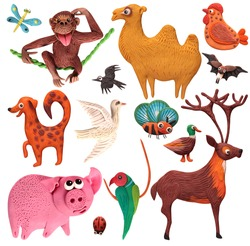 set of animals on a white background from plasticine