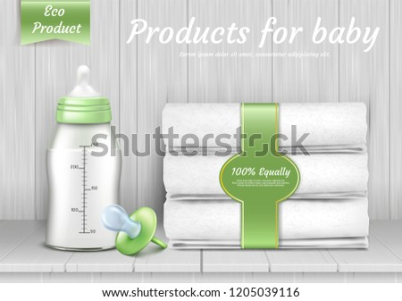 set of baby care accessories, stack of white towels, pacifier, bottle with silicone nipple for feeding newborns. 3d realistic eco products for infants on background with wood texture