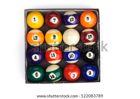 Set of billiard balls  on a white background