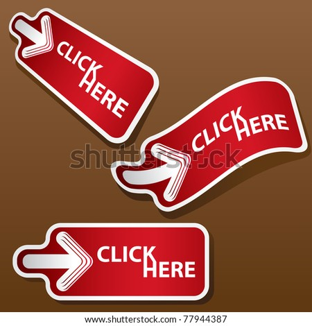 Set of click here stickers. Vector version available in my gallery.