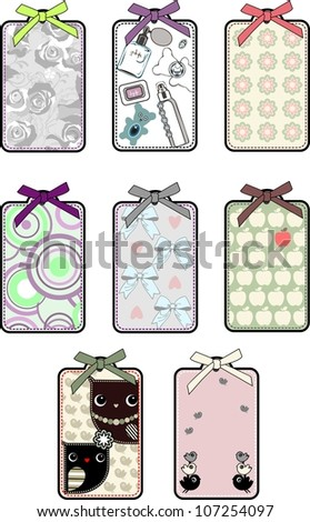 set of decorative colored labels