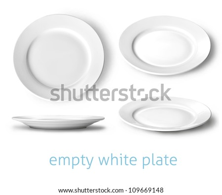 Shutterstock  set of empty white plate on the white background