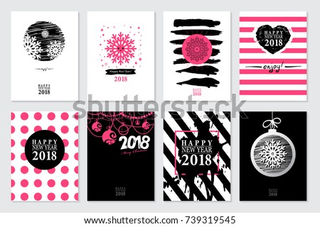set of 2018 happy new year sale banners templates for on line shopping with black white pink colors trendy flat style with hand lettering words