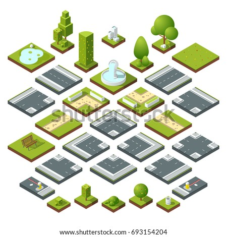 set of isometric city elements, crossroads, road, garden decoration. Benches, fountain trees and bushes. Construction road and elements bench and flora, illustration of corner road
