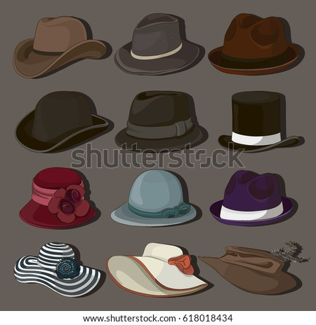 set of man and woman hats.